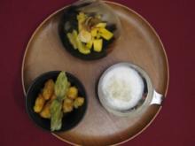 Gebackener Obstsalat Singapur Art mit frischem Sorbet von grünem Tee - Rezept
