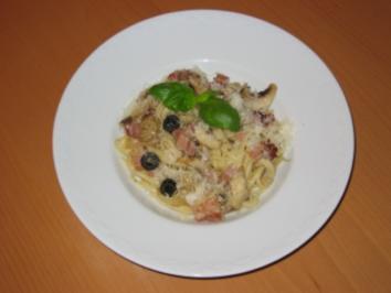 Linguine mit Speck und Oliven - Rezept