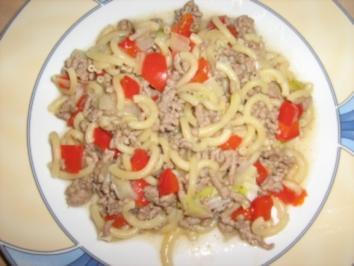 Hackpfanne mit Gabelspaghetti - Rezept