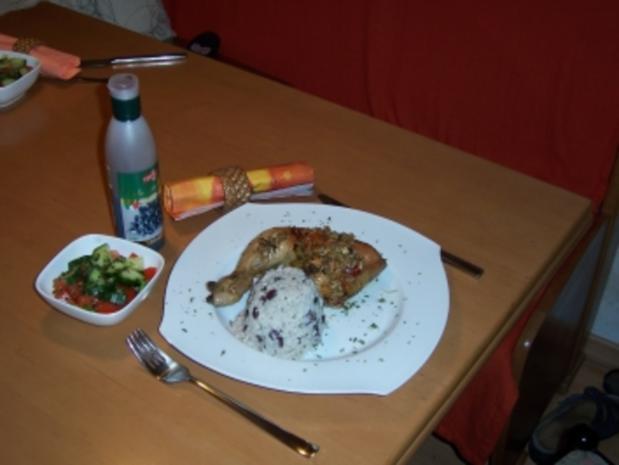 Hähnchenschenkel auf pikante-karibische Art mit Kidneybohnen-Reis - Rezept - Bild Nr. 2