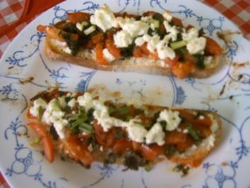 Bruschetta  mit Tomaten und Feta - Rezept