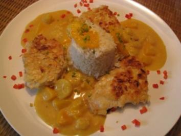 Truthahn - Putenschnitzel im Mandelkleid mit einer Currysauce - Rezept