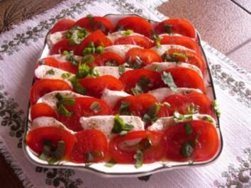Tomate-Mozarella mit Basilikum - Rezept