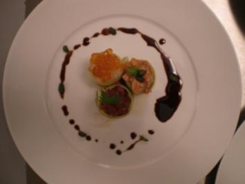 Gurken-Sushi von Tunfisch, Lachs und Jakobsmuschel - Rezept