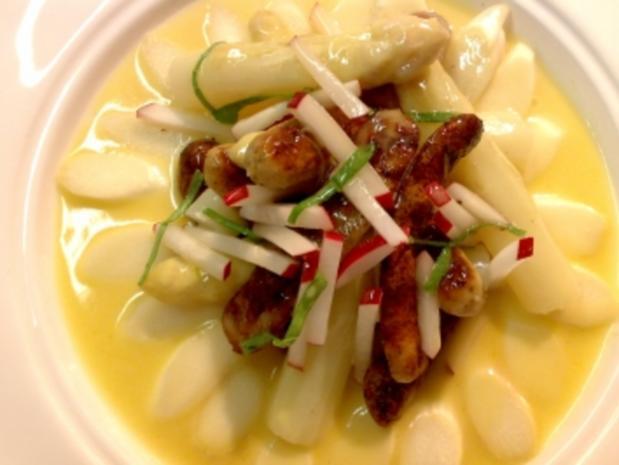 Spargel-Salat mit Nürnberger Bratwurst - Rezept