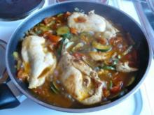 gefüllte Hähnchenfilets mit mediterranem Gemüse - Rezept