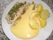Kräuterlachs auf Spargel mit Senf-Hollandaise>> - Rezept