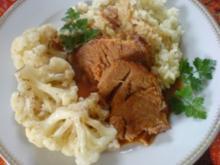 Kaßlerbraten mit Reis und Blumenkohl - Rezept
