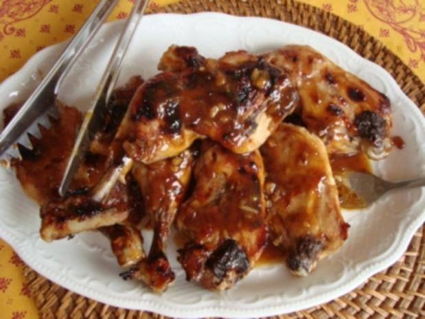 Z - schnelle Küche - Hähnchenkeule mit Honigglasur - Rezept