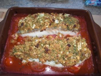 Seelachsfilet mit Zwiebelkruste - Rezept