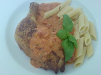 Hähnchenschenkel mit einer Rocotta-Tomaten-Basilikum-Sauce - Rezept