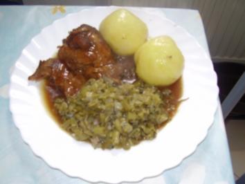 Lammschulter mit grünen Bohnen und Klößen - Rezept