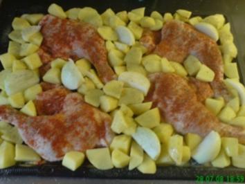 Hähnchenschenkel vom Backblech - Rezept