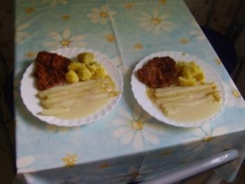 Schnitzel - Spargel - helle Soße mit Salzkartoffeln - Rezept