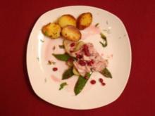 Makrele mit Granatapfel-Limettensaft und Tequila mariniert auf Fenchel - Rezept