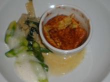 Blauschimmelkäsesoufflee dazu grüner Spargel und Mangold - Rezept