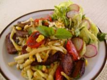 Spätzlepfanne mit Fleisch , Tomaten und Mais - Rezept