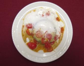 Basilikumparfait mit Vanille-Tomaten und Limonengras-Parmesanschaum - Rezept