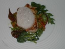 Tunfisch auf Pistazienpüree mit Tomatenmarmelade und Ingwerschaum - Rezept