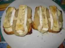 Überbackene Baguette,Camembert,Birne, Rosmarin, Variante 2 - Rezept