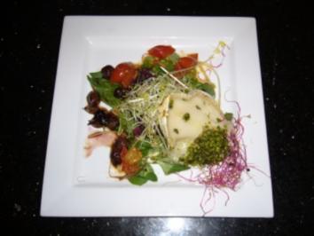 Ziegenkäse mit Balsamico-Zwiebel-Kombination an gemischtem Wildsalat - Rezept