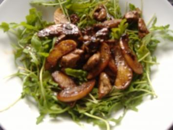 Salat von Rucola,Apfel und Kalbsleber - Rezept
