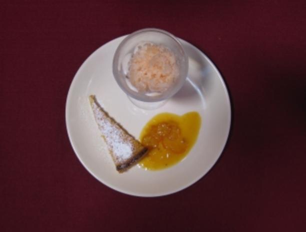 Grapefruit-Sorbet und Zitronentarte an Orangensoße - Rezept