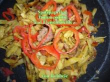 Hauptgericht: Spitzpaprika, Pommesstifte und Fleischküchle - Rezept