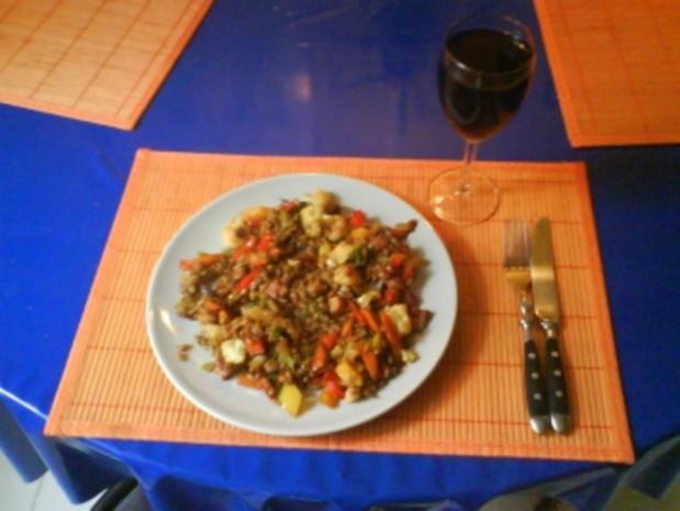 Gemüse: Gemüsepfanne mit Grünkern - Rezept