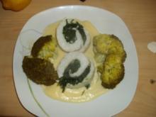 Gefüllter Viktoriabarsch mit Käsesoße und Broccoli - Rezept