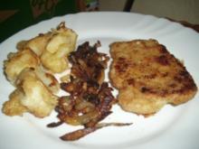 Schnitzel mit gebackenem Blumenkohl und Knusperzwiebeln - Rezept