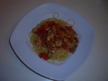 Meeresfrüchte auf Spaghetti - Rezept