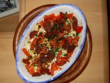 Chorizo-Schafskäse-Tomaten-Gratin - Rezept