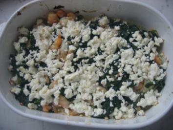 Garnelen mit Spinat und Schafskäse - Rezept