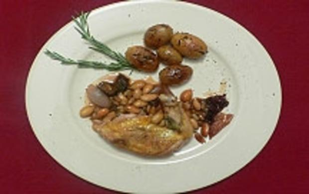 Perlhuhn mit Rosmarin-Honig-Kartoffeln - Rezept