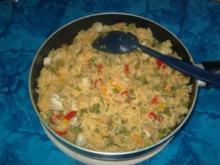 Bunte Paprika-Hähnchen-Pfanne mit Reis - Rezept