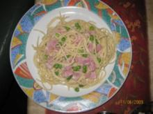 Spaghetti mit Kochschinken und Erbsen - Rezept