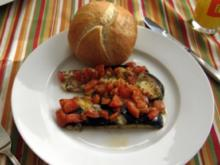 Gratinierte Auberginen mit Tomaten und Mozarella - Rezept