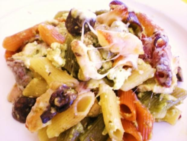 NUDELN: Bunte Champignon-Pesto-Pasta - Rezept - Bild Nr. 2