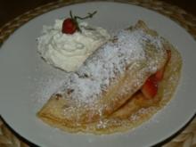 süßer Vanillepfannkuchen mit Erdbeeren - Rezept