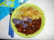 Violette Kartoffeln mit Gulasch und Bohnen - Rezept