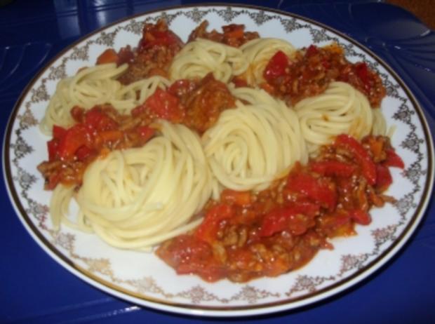 spaghetti mit gem se hackfleisch so e rezept. Black Bedroom Furniture Sets. Home Design Ideas