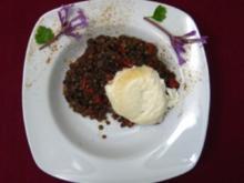Ziegenkäse auf Glückslinsen-Salat mit Gewürzen aus der Hexenküche - Rezept