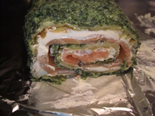 Fisch-Spinat-Käse-Lachsrolle - Rezept