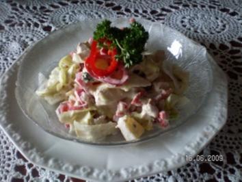 Eisbergsalat mit Hühnchenfleisch und Spitzpaprika - Rezept
