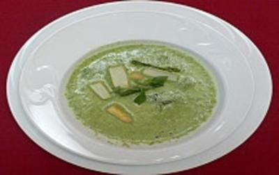 Basilikumsuppe mit weißem Spargel - Rezept