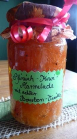 Pfirsich-Kiwi-Marmelade mit echter Bourbonvanille - Rezept