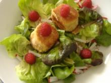 Sommersalat mit gebackenen Ziegenkäse und Himbeer-Mint-Vinaigrette - Rezept
