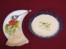Kalte Artischockensuppe mit warmem Fladenbrot - Rezept