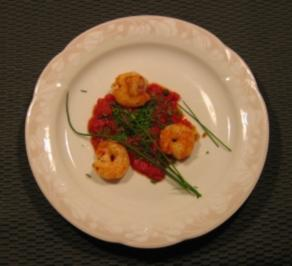 Garnelen auf Tomatenmousse - Rezept